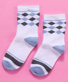 Mustang Ankle Length Socks Diamond Design - Blue Grey