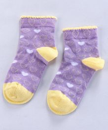 Mustang Ankle Length Socks Hearts Design - Purple