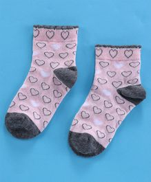Mustang Ankle Length Socks Hearts Design - Pink
