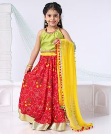 Kids Chakra Lace Detailed Sleeveless Choli With Floral Print Lehenga & Pom Pom Lace Detailed Dupatta - Red