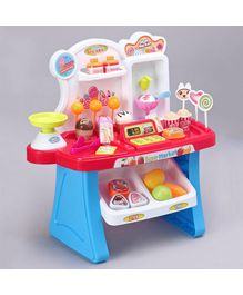 Mini Super Market Play Set With Light & Sound Red Blue - 34 Pieces