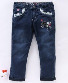Olio Kids Full Length Jeans Floral Embroidery - Dark Blue