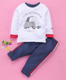 Ollypop Full Sleeves Tee And Track Pant Club Automobile Print - White & Denim Blue