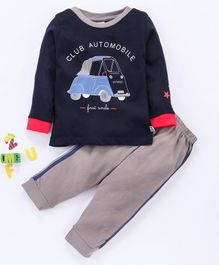 Ollypop Full Sleeves Tee And Track Pant Club Automobile Print - Navy Blue & Grey
