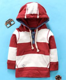 Ollypop Full Sleeves Hooded Tee Striped Pattern - Maroon
