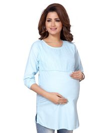Mama & Bebe Flower Embroidered Three Fourth Sleeves Maternity Kurti - Blue