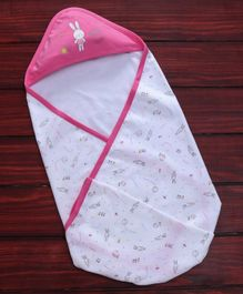 Zero Hooded Wrapper Bunny Print - Pink