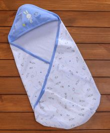 Zero Hooded Wrapper Bunny Print - Blue