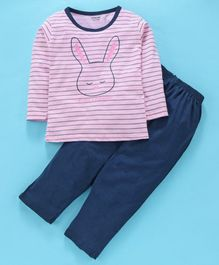 Doreme Full Sleeves Striped Night Suit Bunny Print - Light Pink Navy