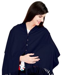 Lulamom Solid Multi Purpose Breast Feeding Nursing Shawl - Navy Blue