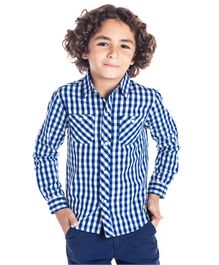 Cherry Crumble California Full Sleeves Checked Shirt - Blue