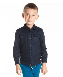 Cherry Crumble California Full Sleeves Solid Shirt - Blue