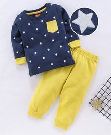 Babyhug Full Sleeves Night Suit Star Print - Navy Blue Yellow