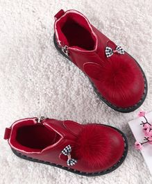 Kidlingss Pom Pom Detailed Ankle Boots - Red