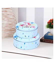 Quirky Monkey Round Happy Unicorn Storage Metal Tins - Set of 2