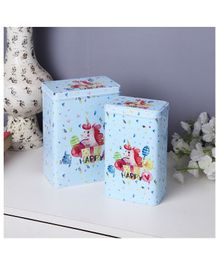Quirky Monkey Tall Happy Unicorn Metal Tins - Set of 2