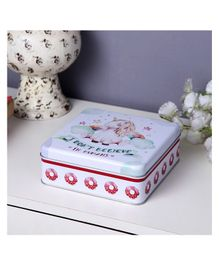 Square White Donut Unicorn Storage Metal Tin Box