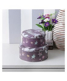 Quirky Monkey Round Stars and Moon Storage Tins Brown - Set of 2
