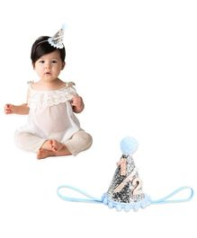 Bembika Cone Hat Tiara Adjustable Headbands Silver For 6th Month Birthday