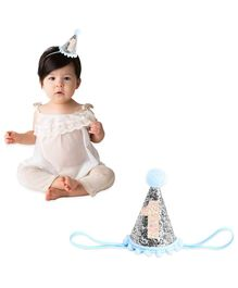 Bembika Cone Hat Tiara Adjustable Headbands Silver For 1st Birthday