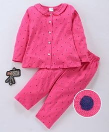 Smarty Full Sleeves Night Suit Dots Print - Pink