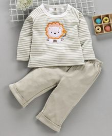 ToffyHouse Full Sleeves Striped Tee & Trouser Lion Patch - Grey
