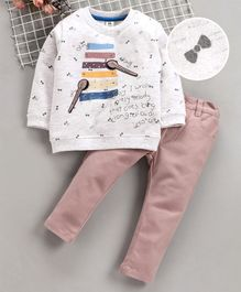 ToffyHouse Full Sleeves Tee With Trousers Xylophone Print - Light Grey