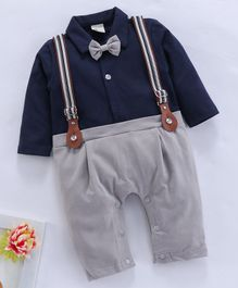 Koookie Kids Full Sleeves Party Romper Mock Suspenders & Bow Tie - Navy Grey