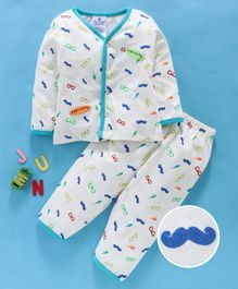First Smile Full Sleeves Night Suit Allover Moustache Print - Cream
