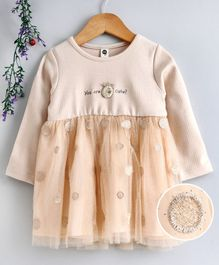 Lekeer Kids Full Sleeves Frock - Peach