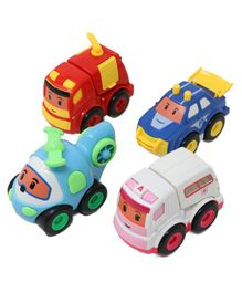Zest 4 Toyz Unbreakable Friction Powered Push and Go Emergency Vehicles Toy With Openable Doors Features - Pack of 4