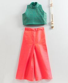 Ridokidz Sleeveless High Neck Motif Pattern Top With Contrast Palazzo Pants - Green & Peach