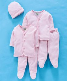Ohms Full Sleeves Organic Cotton Infant Clothing Gift Set Pink - Pack of 5