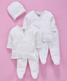 Ohms Full Sleeves Organic Cotton Infant Clothing Gift Set White - Pack of 5