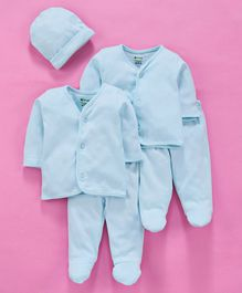 Ohms Full Sleeves Organic Cotton Infant Clothing Gift Set Blue - Pack of 5