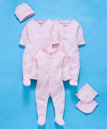Ohms Organic Cotton Infant Clothing Gift Set Pink - Pack of 6