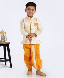 Ridokidz Self Design Full Sleeves Kurta & Dhoti Set - Yellow
