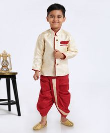 Ridokidz Self Design Full Sleeves Kurta & Dhoti Set - Red