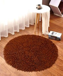 Saral Home Pure Cotton Round Shaped Shaggy Mat - Brown