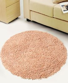 Saral Home Pure Cotton Round Shaped Shaggy Mat - Beige