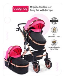 Babyhug Majestic Stroller cum Carry Cot with Canopy - Pink