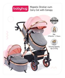 Babyhug Majestic Stroller cum Carry Cot with Canopy - Peach