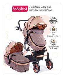 Babyhug Majestic Stroller with Canopy - Light Peach