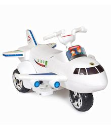 Happykids Aeroplane Shape Electric Ride On  with Beautiful LED Lights & Music - White