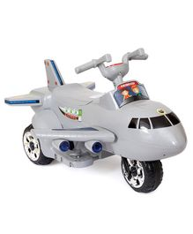 Happykids Aeroplane Shape Electric Ride On  with Beautiful LED Lights & Music - Grey