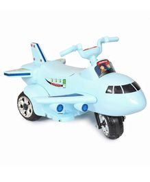 Happykids Aeroplane Shape Electric Ride On  with Beautiful LED Lights & Music - Blue