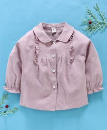 Lekeer Kids Full Sleeves Solid Shirt Ruffle Detail - Light Purple