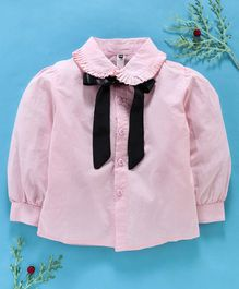 Lekeer Kids Full Sleeves Solid Shirt With Neck Tie Ribbon - Pink