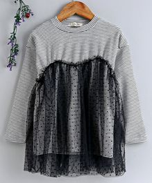 Lekeer Kids Full Sleeves Striped Frock With Net Overlay - Black
