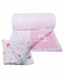 Mom's Home Organic Cotton Quilt With Muslin Swaddle Wrapper Butterfly Print - Pink